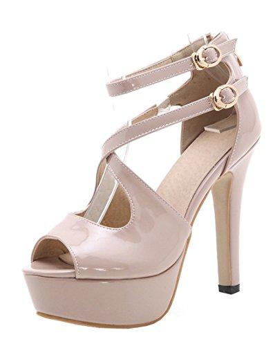 Damen Peep Toe High Heels Plateau Lackleder Sandalen Elegant Pumps mit Knöchelriemchen und Schnalle Schuhe Beige