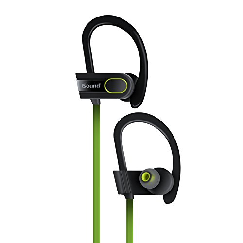 ISOUND - Sport Tone Wireless Bluetooth Headphones - Tangle Free, with Built-in mic and Volume Controls - Black/Green