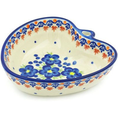 - Polish Pottery Heart Shaped Bowl 6-inch Passion Poppy