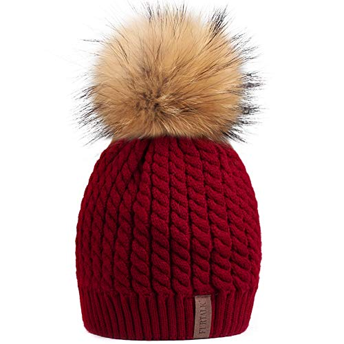 (Winter Knit Beanie Hats for Women FURTALK Warm Fur Bobble Pom Pom Hat)