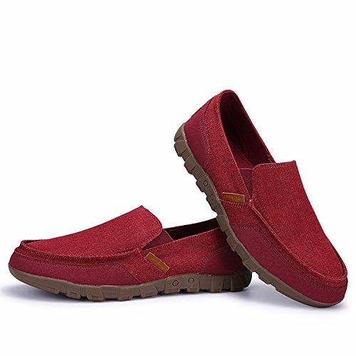 Puremee Herrenmode Leichte Atmungsaktive Slip-on Canvas Schuhe, Turnschuhe, Freizeitschuhe Große Größe / Mittlere größe / Kleine größe rot