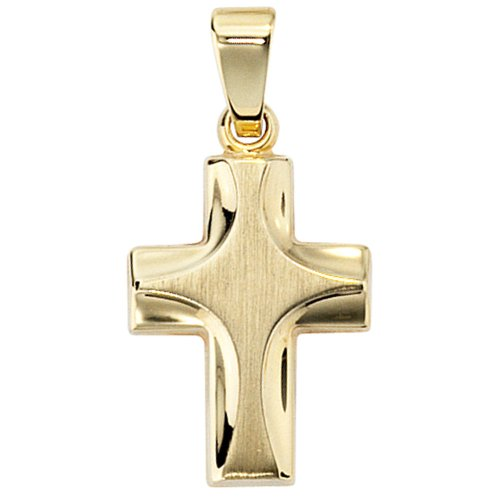 JOBO pendentif en forme de croix en or jaune 585 partiellement dépoli