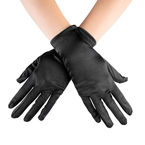 (Xuhan Short Banquet Opera Satin Gloves for Women Wrist Length (Black))