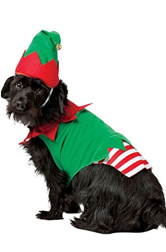 [8eighteen Santa Helper Christmas Elf Dog Pet Costume] (Bat Wings Dog Costume)