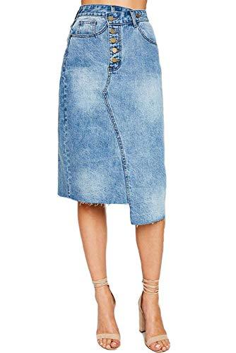 Hayden Los Angeles Women's Asymmetrical Denim Midi Skirt Knee Length Denim Jean Skirt Medium Light Wash ()