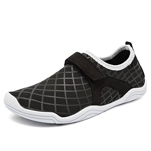 CIOR FANTINY Boys & Girls Water Shoes Lightweight Comfort Sole Easy Walking Athletic Slip On Aqua Sock(Toddler/Little Kid/Big Kid) Driving DKSX-f.black-38