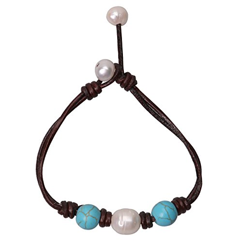 Blue Turquoise Bracelets White Teardrop Pearls Leather Jewelry White Big Freshwater Cultured - Bracelet White Pearl Turquoise