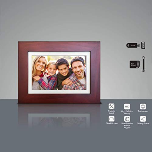 eco4life 8″ WiFi Family Sharing Photo Frame Ultra HD IPS Display, Cherry Color Wooden Frame, 6G Lifetime Cloud Storage, APP Control, Turn on/Off Automatically, SD Card/USB Reader, Best Gift idea