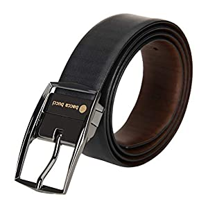 Bacca Bucci® Men's Reversible Classic Dress belt Italian Top Grain Genuine leather Black & Brown with rotating Metal…