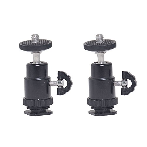 Bestshoot Mini Ball Head (2Packs) with Hot Shoe Mount and Lock Tripod Head for DSLR SLR Camera Video Light Camera Monitor Video Camcorder GoPro Phone Selfie Stick Monopod Pole Photography