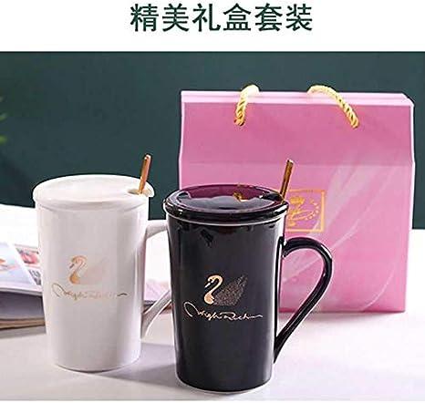 WANGSHI Taza De Cer/ámica con Cuchara De Cubierta Creative Personality Couple Drink Cup A Pair of Home Coffee Cup 520 Taza