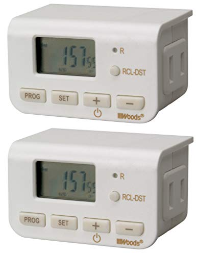 Woods 50007WD Indoor 24-Hour Digital Plug-In Timer, 2 Pack, 1 Polarized Outlet, Ideal For Automating Your Holiday Decorations and Christmas Tree -