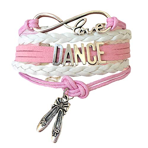 BAE Icons Dance Bracelet Gift for Girls, Infinity Dance Bracelet Ballet Shoes Charm, Gift Wrapped (Pink, White, 5.5in Medium). Pink Jewelry for Girls. Dance Girl Gift for Birthday Gifts