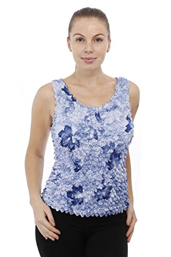 Gilbins Strechable Popcorn Textured Sleeveless Design Tank Top One Size Fits All Blue Roses - Popcorn Collection
