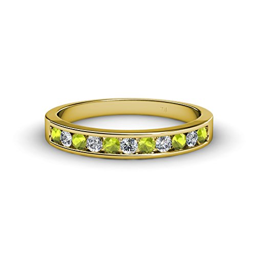 Peridot and Diamond 11 Stone Channel Set Wedding Band 0.60 ct tw in 18K Yellow Gold