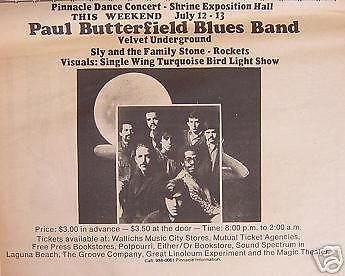 Velvet Underground Paul Butterfield Concert Poster Ad ()