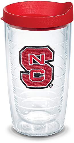 (Tervis 1310089 NC State Wolfpack Primary Logo Insulated Tumbler with Emblem and Red Lid, 16oz, Clear)