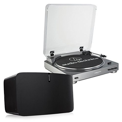 Sonos PLAY:5 - Ultimate Wireless Smart Speaker (Black) with Audio-Technica AT-LP60 Fully Automatic Stereo Turntable System with Two Speeds (Silver)