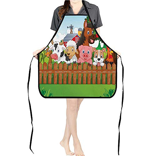 Jiahong Pan Adult Apron Waitresses Apron Cute Farm Animals The Comic Mascots Dog Cow Horse Kids Cooking Kitchen Aprons for Women MenK26.6xG27.6xB10.2 ()
