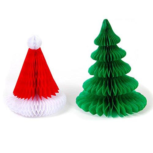 Santa Hat and Christmas Tree Honeycomb Table Decoration, Set of -