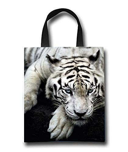 White Tiger Beach Tote Bag - Toy Tote Bag - Large Lightweight Market, Grocery & Picnic by Linhong