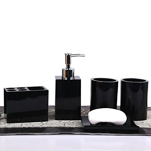 Resin Soap Dish, Soap Dispenser, Toothbrush Holder & Tumbler Bathroom Accessory 5 Piece Set (black) ()