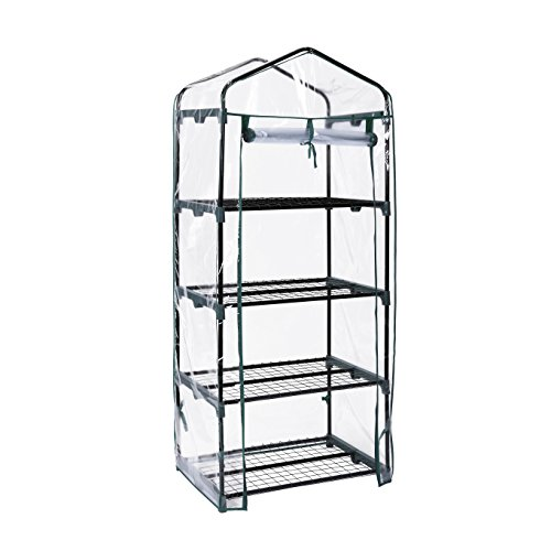4 tier portable mini compact greenhouse with clear pvc