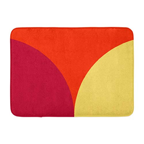 Burgundy Contemporary Geometric,Darkchocl Decorative Bath Mat Abstract Multicolored Red Yellow Absorbent Non-Slip 100% Flannel 17''L x 24''W for Bathroom Toilet Bath Tub Living Room