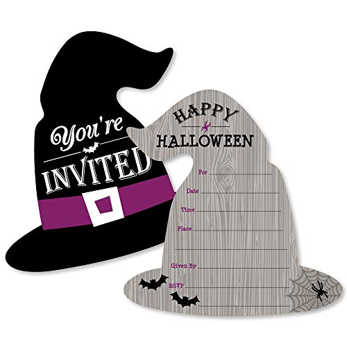 (Happy Halloween - Shaped Fill-in Invitations - Witch Party Invitation Cards with Envelopes - Set of 12)