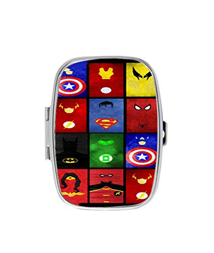 Marvel Superheroes Symbols Custom Unique Stainless Steel Pill Box Medicine Tablet Holder Decorative Metal Organizer Case