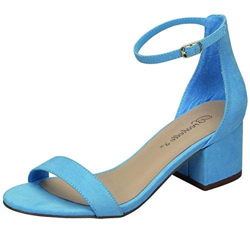 Breckelles Dames Enkelband Midden Dikke Gestapelde Blokhak Open Teen Sandaal Blauw