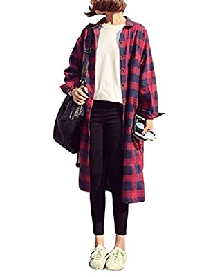Gameyly Women's Casual Long Sleeves Plaid Buttoned Shirt Dress