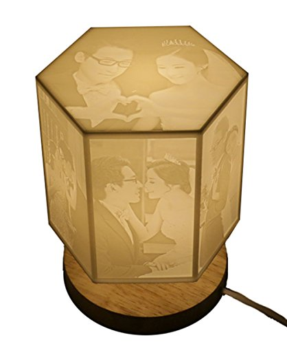 3D Printing Hexagonal Table Lamp Night Light Personalised Relief Sculpture Shade Picture Unique Home Party Gift (Gifts Personalised Photo)