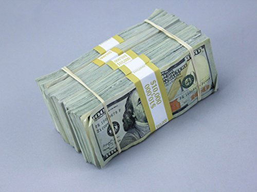 PROP MONEY Real Looking New Style Copy $100s - AGED BLANK FILLER Stack Total $50,000 for Movie, TV, Videos, Advertising & Novelty