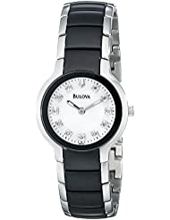 Bulova Womens 98P127 Diamond Black & Silver Ion-Plated Watch