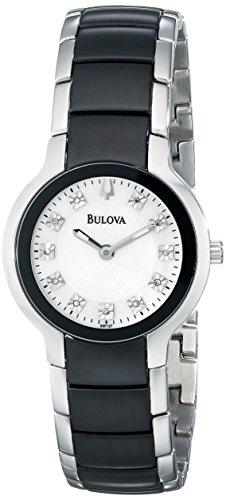 Bulova Women's 98P127 Diamond Black & Silver Ion-Plated Watch