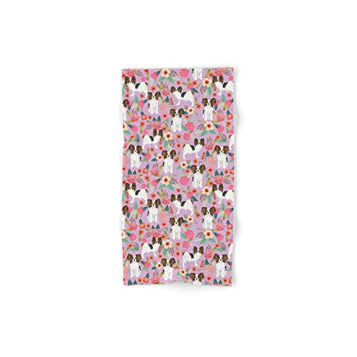 Society6 Bath Towel, 30'' x 15'', Papillon pet Friendly Small Cute Dog Breed Must Have Gift for Dog Lover Florals Dog Pattern Print by petfriendly by Society6