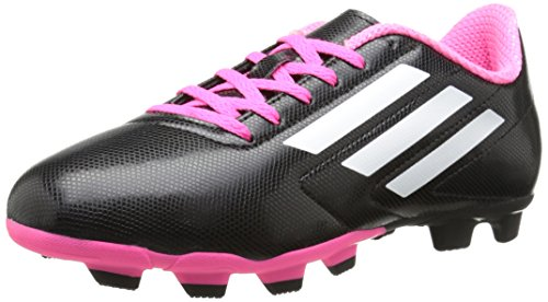 adidas Performance Conquisto Firm-Ground J Soccer Cleat ,Black/White/Solar Pink,5 M US Big - Girls Pink Cleats Soccer
