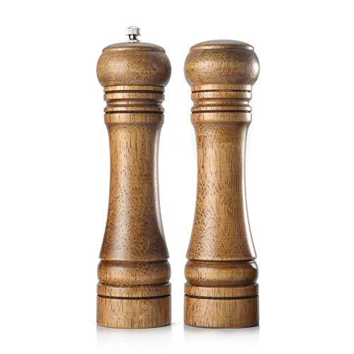 (Hamkaw Wood Salt and Pepper Grinder Set, Pepper Mill, Salt Shakers Spreader with Adjustable Ceramic Rotor - 8 Inches)