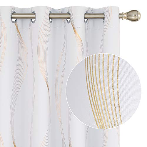 Deconovo Thermal Insulated Room Darkening Off White Blackout Curtains with Stripe Golden Printed Grommet Curtains for Living Room 2 Curtain Panels 52 by 108 Inch