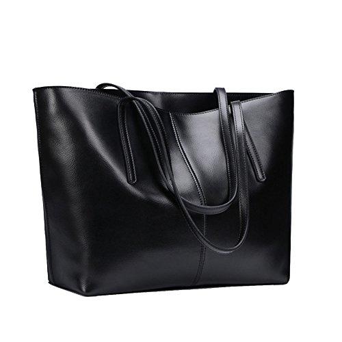 Bolso De Hombro De Cuero Genuino De La Señora Elegante Diseño Top Handle Bolsos De Moda Para Mujeres Black