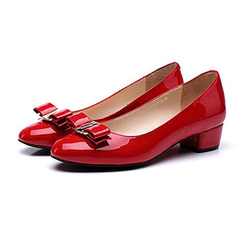 Dame Rødt Høje Lædersko Klassiske Hæle Damerne Læder Runde EnAEqUCxw