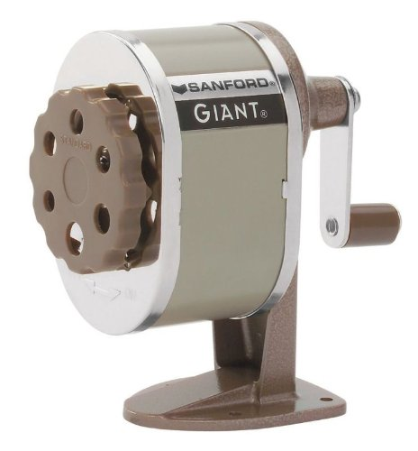 - Sanford 51131CX Giant Pencil Sharpener, Table or Wall-Mounted, Tan, Six-position Guide, Point Stop