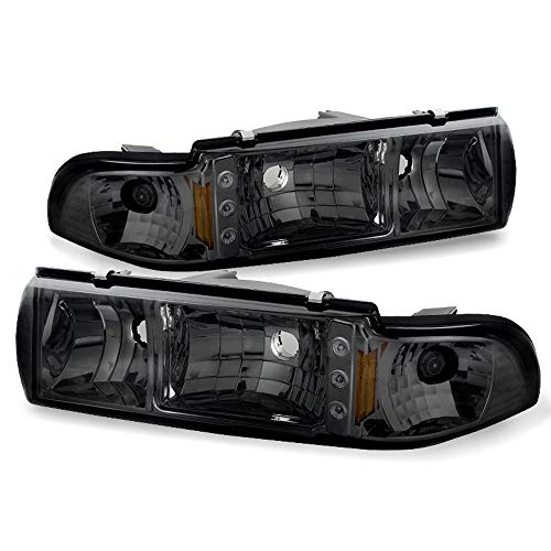 - ACANII - For Smoke 1991-1996 Chevy Caprice Impala 2in1 LED Headlights Lights+Corner Signal Lamps Driver & Passenger Side