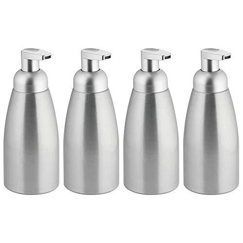 mDesign Modern Metal Foaming Soap Dispenser Pump Bottle for Kitchen Sink Countertop, Bathroom Vanity, Utility/Laundry Room, Garage - Save on Soap - Rust Free Aluminum - 4 Pack - Brushed/Silver