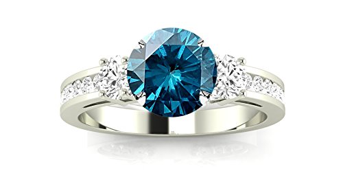 Channel Set 3 Three Stone Diamond Engagement Ring with a 0.75 Carat Blue Diamond Heirloom Quality Center