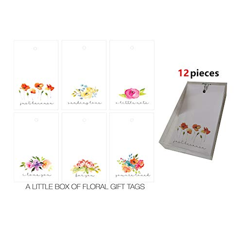 Chit Chat Pack of 12 Luxury Gift Tags Cute-6 Assorted Designs (Floral Gift Tags)