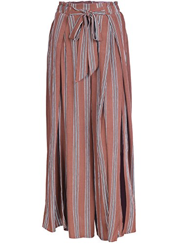 Simplee Women's Elegant Striped Split High Waisted Belted Flowy Wide Leg Pants, Rust Red Stripe, 4/6, Small
