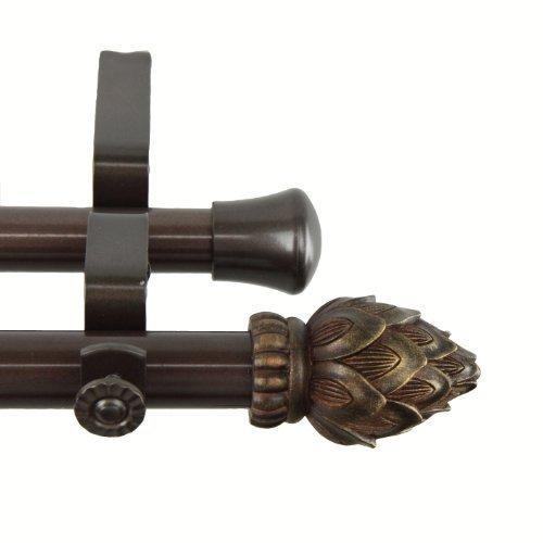Rod Desyne Bud Double Curtain Rod, 120 by 170-Inch, Cocoa