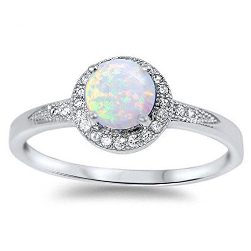 Lab Created White Opal & Cz .925 Sterling Silver Ring size 7 by Oxford Diamond Co (Image #2)